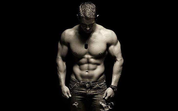 biceps, černá a bílá, tělo, kulturista, Kulturistika, svalnatý, tmavý
