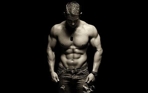 bíceps, blanc i negre, cos, culturista, culturisme, brawny, fosc