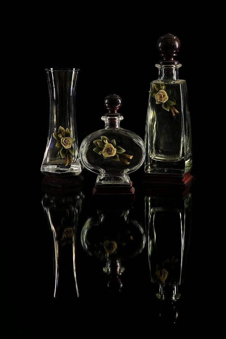vaser, glass, essenser, gjennomsiktig, krukker, kronblad