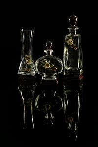 vaser, glas, essenser, gennemsigtig, krukker, kronblade
