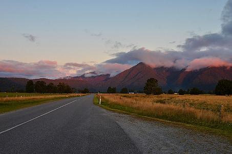 Sunset, Uus-Meremaa, maastik, mägi, Road, pilve, loodus