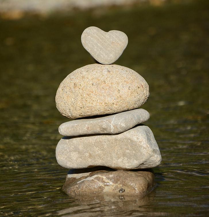 trái tim, nước, trái tim đá, Thiên nhiên, cân bằng, đá, cân bằng đá