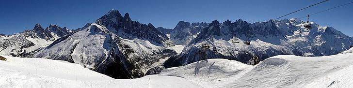 panoràmica, panoràmica, Alps, pistes d'esquí, muntanyes