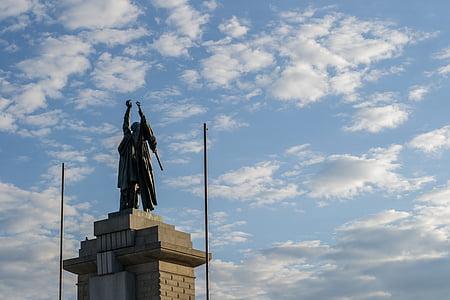 statuen, Brno, himmelen, skyer, byen, monument, tsjekkisk