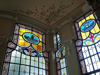 finestre di vetro macchiate, vetro macchiato, finestra, decorazione