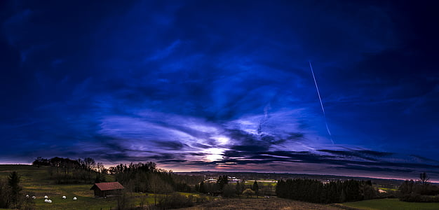 pôr do sol, Panorama, céu, paisagem, natureza, nuvens, perspectivas
