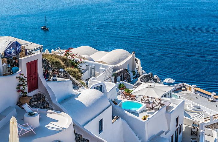 Santorini, Oia, Grčija, potovanja, poletje, grščina, otok