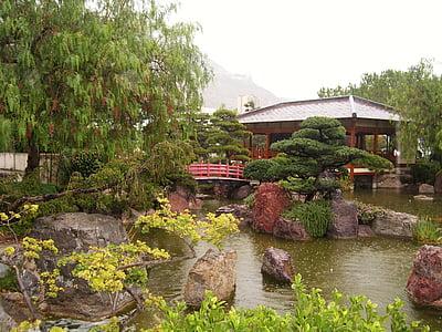 jardin, Japonais, jardin japonais, Monaco, pagode, Lac, Zen