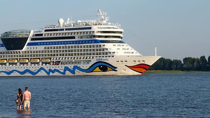 kryssningsfartyg, Elbe, passagerarfartyg, resor, melankoli, drömmar, transport