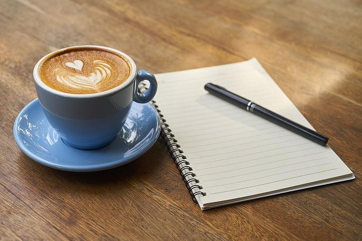 cafè, ploma, Llibreta, treball, llibre, cafeïna, fotos d'aliments