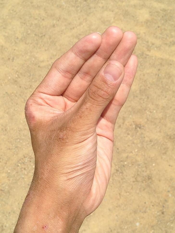 hand, nagel, zand, bezitten, Palm, vinger, jonge