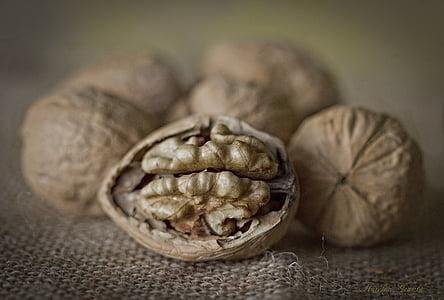 pähklid, detail, maron, kuivatatud puuviljad, tervisliku toitumise, toidu ja joogiga, värskuse