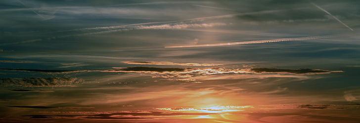 Západ slunce, obloha, mraky, abendstimmung, Afterglow, večerní obloha, krajina