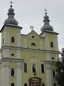 Baia mare, Erdély, templom, vallás, sárga, történelmi, régi