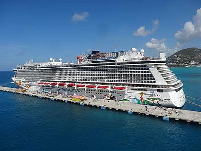 ferie, skib, krydstogt, Caraibien, krydstogtskib, havet, transport