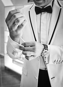 son in law, cufflinks, black and white, bow tie, tuxedo, suit, human hand