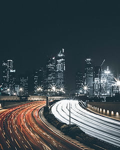 traffic, night, city, cars, lights, urban city, blur