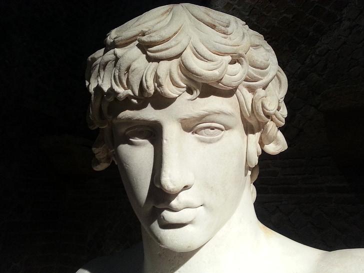 Antic, statue de, visage, marbre, Rome, art, garçon