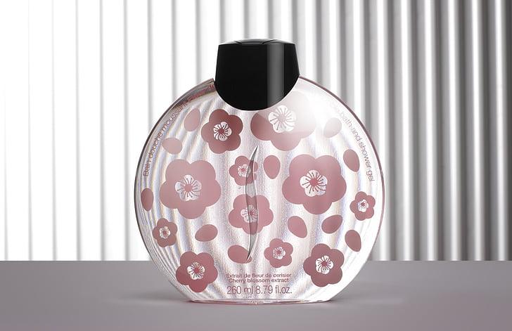 ampolla, cosmètica, disseny, fragància, línies, Perfum