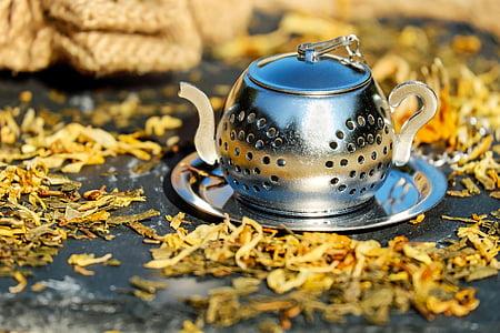 teekann, tee, pot, roostevabast terasest, sõela, tee, tee tassi