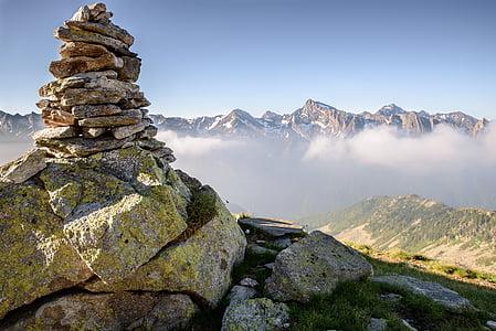 equilibri, escena, centrat, muntanyes, Vall, Prat, Cimera