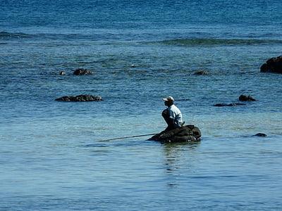 angler, mauritian, mauritius, indian ocean, man, sea, fishing rod
