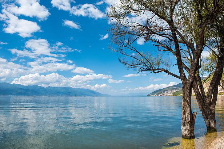 dali, lago Erhai, paisagem de Yunnan, natureza, beleza na natureza, água, azul
