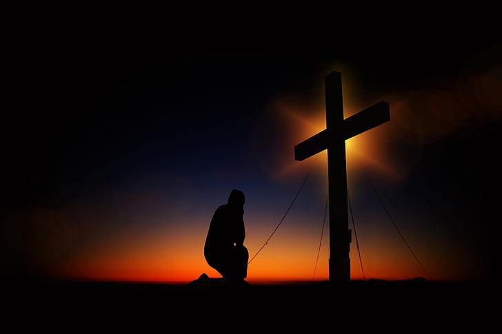 Creu, posta de sol, humilitat, devoció, silueta, humà, agenollat