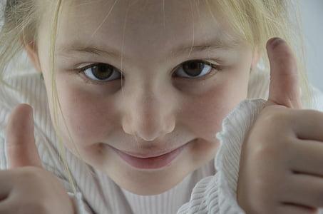 Děvče, děti, cukroví, obličej, portrét, Tumbs nahoru, dítě