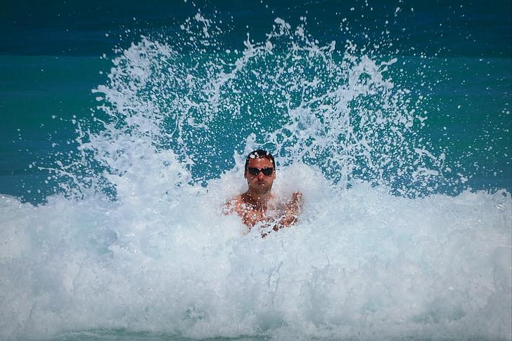 home, Mar, oceà, ones, indestructible, persones, determinació
