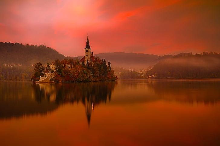 lake bled, slovenia, travel, tourism, mountains, city, town