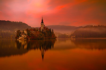 lake bled, slovenia, travel, tourism, mountains, city, town