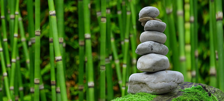 Zen, Záhrada, Meditácia, mních, kamene, bambus, zvyšok