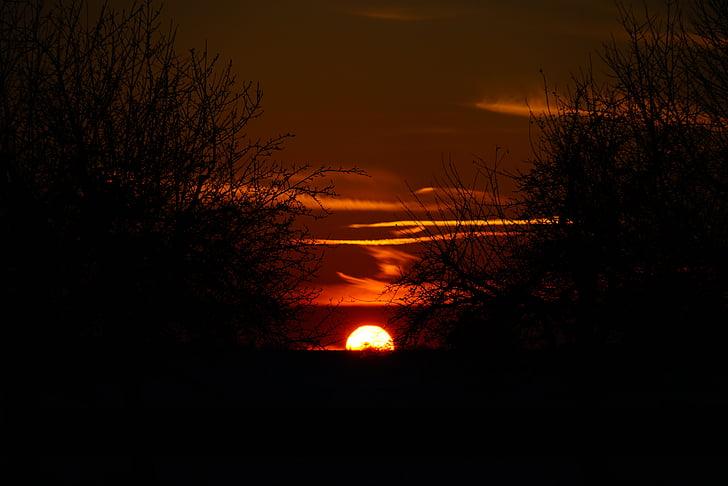 일몰, 태양, 불덩어리, 석양, abendstimmung, 저녁 하늘, 로맨틱