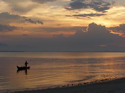 platja, vaixell, Mar, l'aigua, paisatge, canoa, pesca