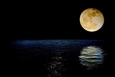 Luna, Super, superluna, Meer, Reflexion, Wasser, Nacht