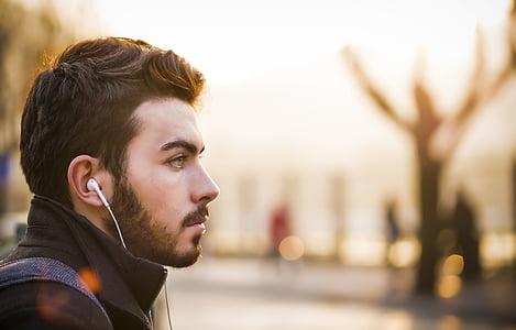 people, man, guy, headset, beard, bokeh, blur