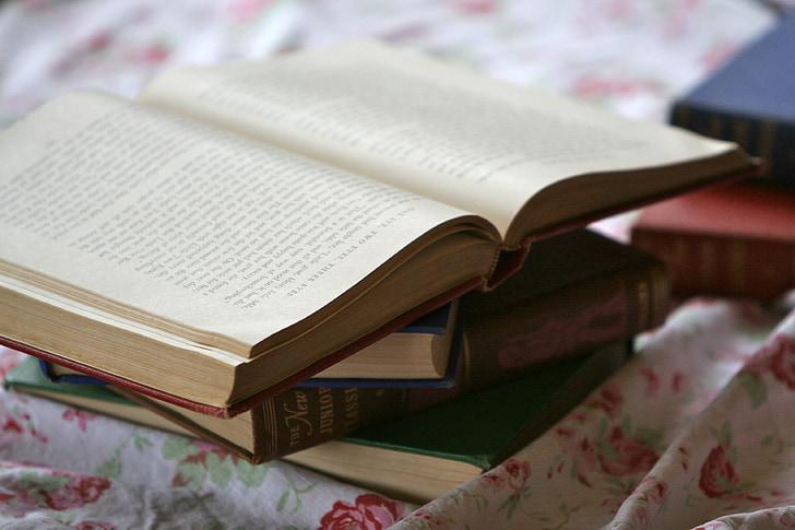 ritorno a scuola, libri, vintage, vecchi libri, oggetto d'antiquariato, Studio, letteratura
