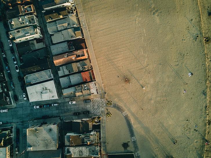 aerial, view, rooftops, buildings, road, street, car