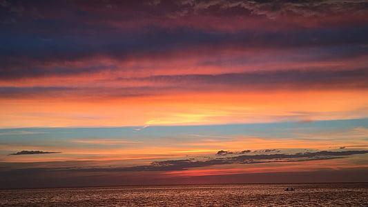 posta de sol, Llac, platja, l'aigua, cel, natura, paisatge