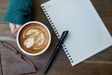 cafè, cafeïna, Llibreta, aliments, begudes, fotos, Copa