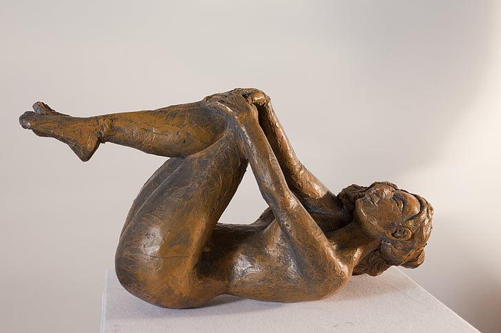 žena, zložený, sochárstvo, wellness