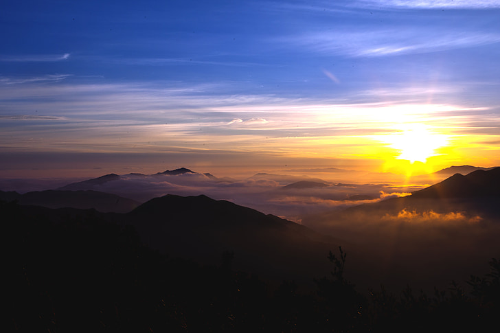 góry, Wschód słońca, Solar, zachód słońca, Natura, Sunrise - świt, krajobraz