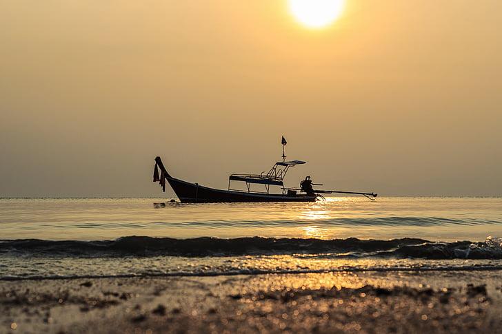 sea, ship, a beautiful view, hope, peace, thailand