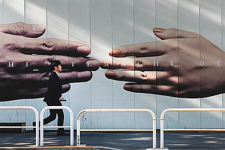 Hand, Wand, Menschen, Mann, Fuß, allein, menschliche hand