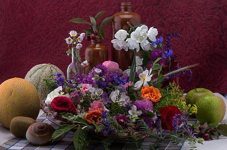 mrtva priroda, cvijeće, sastav, divlji cvijet, Lubenice, ljuska, voće