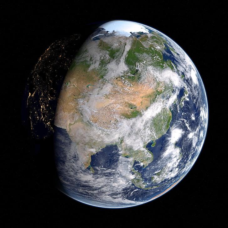 earth, asia, russia, china, map, planet, globe