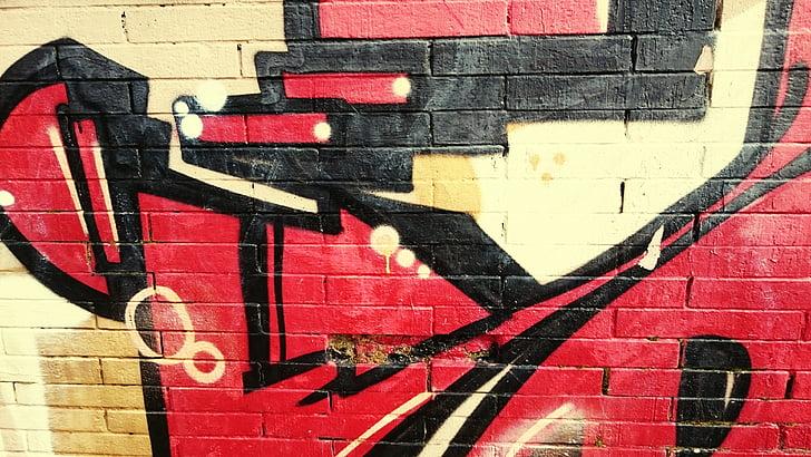 graffiti, fal, festék, spray, városi, tégla, zászló