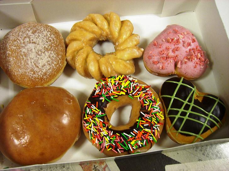 doughnuts, variety, donuts, chocolate, sweet, box, icing