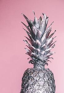 grayscale, foto, nanas, nanas, pinus apel, Studio ditembak, latar belakang merah muda